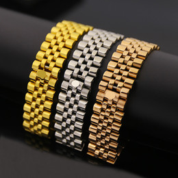 Wholesale 18k Men Gold Plated Watches - luxury brand jewelry watch band crown symbol chain link Love bracelets bangles for men gifts,stainless steel bijoux gold  rose silver color