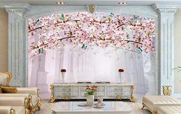 Telones de fondo de mariposa online-Peach Blossom Butterfly Photo Mural Wallpaper Modern Bedroom Telón de fondo de la pared Home Decor 3D Landscape Wallpaper Murales