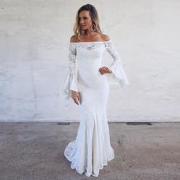 2019 photos de mariage d'été Robes de mariée en dentelle Boho sirène bohème longue flare manches épaule longue sirène longueur de plancher robes de mariée taille personnalisée