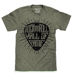 fabric rolls cotton 2018 - Brand T-shirt Men 2018 Fashion Rock N' Roll Hall Of Fame Guitar Pick T-shirt   Soft Touch Fabric