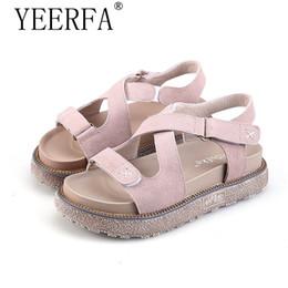 60bbadc936 Zapatos de YIERFA Mujer Talla grande 35-43 Flock Trifle Heel Sandalias de  Gladiador Mujeres Chanclas de Vendaje Gruesas Sandalias de Plataforma Boom