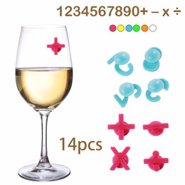 Wholesale Glass Bottled Drinks Wholesale - Personality Numbers Wine Glasses Marker Drinking Tag Set Cup Recognizer 14pcs set Silicone Bottle Drink Label For Party Decors