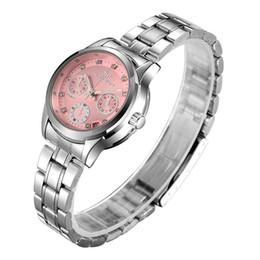 Relógio mecânico automático ocasional das mulheres marca relógios branco rosa Dial Senhoras aço inoxidável pulseira de esportes feminino relógio de pulso cheap white female wristwatches de Fornecedores de relógios de pulso femininos brancos