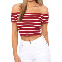 c54b63ab90d25 Discount sexy kimono top - Women Summer Crop Top Sexy Off The Shoulder  Short Sleeve Striped