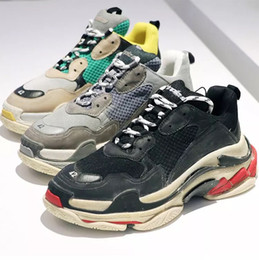Wholesale Woman S Heels - New Original Box Unveils New Triple S Casual Shoe Man Woman Sneaker High Quality Mixed Colors Thick Heel Grandpa Trainer Shoes Double Box