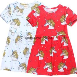 Wholesale Teenage Wholesale Clothes - INS unicorn kids girls full print dresses Summer Autumn New Teenage Girls Dresses unicorn Cartoon Cotton Dress Children Clothing 4-10T