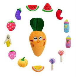 Wholesale Fed Plush - Pet Chew Squeaker Squeaky Plush Sound Fruits Vegetables And Feeding Bottle Dog Toys 13 Designs