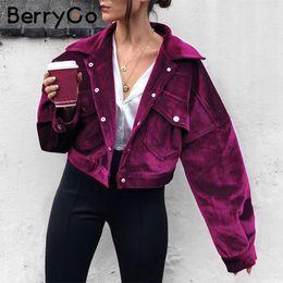 aa785e96140a4 BerryGo Vintage corduroy pockets women warm thick jackets Winter casual  streetwear jacket coat 2018 jacke coats femme