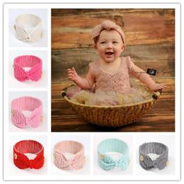 Wholesale bow wool headband - New Baby Girls Fashion Wool Crochet Headband Knit Hairband With Button Decor Winter Newborn Infant Ear Warmer Head Headwrap Bow Knot B11