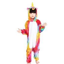 Wholesale pajamas teenage - Flannel Children Fish Scale Unicorn Cosplay Costume Onesie Pajamas For Christmas Gift