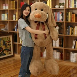 Wholesale Large Stuffed Toy Dogs - New Large Soft Animal Dog Plush Toy Stuffed Cartoon Pillow Animals Doll Gift for Girls and Boys 3 Colors 100cm 140cm