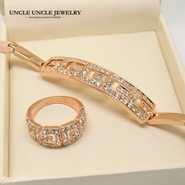 Wholesale Golden Rose Gift - Brand Design Rose Gold Color Rome Style Austrian Crystal Setting Woman Jewelry Sets Bracelet Ring Wholesale Perfect Gift 18krgp