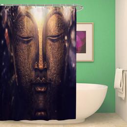 Wholesale cartoon scenery - Mandala Ethnic Polyester Shower Curtain Watercolor Buddha Waterfall Bath Scenery Waterproof Mildewproof Bathroom Curtain Cortina 150x180cm