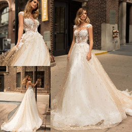 Wholesale Wedding Dress Pearls Design - 2018 New Design Champagne Wedding Dresses Illusion Scoop Neck Appliqued Cap Sleeves A Line Wedding Gowns Court Train