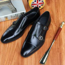 Sapatos de fivela dupla preta on-line-Men Dress shoes Monk shoes Sapatos personalizados feitos à mão Genuine bezerro Leather Color Black strap fivelas duplas