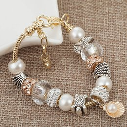 Wholesale Glass Strands - Hot!The new 2018 shell pearl beads color preserving bracelet female starfish multicolor crystal glass alloy electroplating