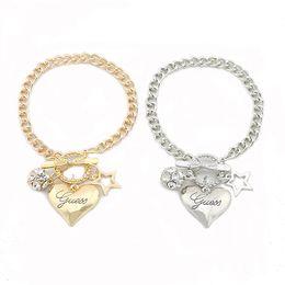 encanto de la pulsera del arco del rhinestone Rebajas Pulseras de corazón Oro Plata Colores Pulseras de cadena Diamantes de imitación Bola Arco Pentagrama Pulseras con dijes Mujeres Joyería de moda