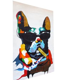 dog fashion sunglasses Canada - Funny Dog With cigar sunglasses Handpainted & HD Print Abstract Animal Art oil painting Wall Art Home Decor High Quality Thick Canvas a142