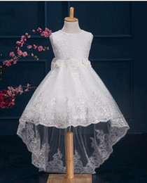 girls stereos Promo Codes - Flower Girls' Dresses Bow Sash Lace Dress Stereo Flowers Rhinestone Hi-Lo Wedding Dresses Kids Princess Dress
