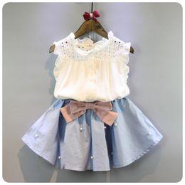 Conjunto de faldas coreanas online-2-8 años Ropa para niños para niñas El arco Falda y encaje Top Traje de verano Conjuntos de ropa para niños de estilo coreano Baby Toddler Set