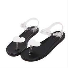 Wholesale Heart Heels Shoes - Sweet Lady Summer Simple Flat LovelyTransparent Heart Toe Sandals Fruit Beach Shoes Plastic Student Shoes For Women
