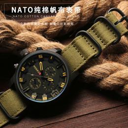 2019 correa nato zulu Laopi jiang Watch Band 20 22 24 26mm Negro Ejército Verde ZULU Nato Nylon Lona de lona Correa de reloj Negro Hebilla de plata correa nato zulu baratos