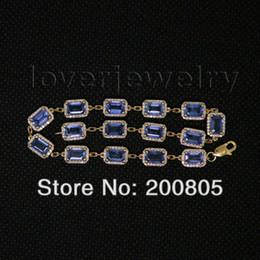 braccialetto in oro smeraldo Sconti Bracciale in oro giallo massiccio 14Kt, Bracciale con zaffiro reale con diamanti Bule, Bracciale con gemma Bracciale con taglio smeraldo 4x6mm per donne NA2