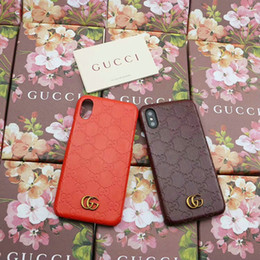 Wholesale iphone cases luxury logo - Luxury brand Printed English alphabet Metal LOGO phone case Shell for iphone X 7 7plus 8 8plus 6 6s 6plus hard back cover