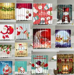 Cortina de navidad de diseño online-Feliz Navidad Ducha Cortina Muñeco de nieve navidad regalos de Santa Claus Deer Árbol Baño Impermeable Poliéster Ducha Cortinas 94 Diseños Decoración de Navidad