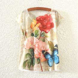 Wholesale Woman White Plain Shirt - Wholesale-Free Shipping 27 Styles Floral Print Basic Plain T Shirt Female Casual Tops Women T-shirt Fashion Plus Size 802