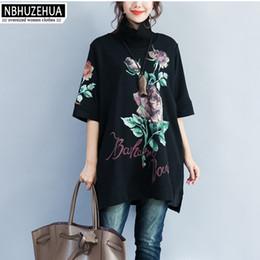 Wholesale Turtleneck T Shirts Short Sleeve - NBHUZEHUA 7G365 4XL 5XL 6XL Autumn Vintage T-Shirt Women Rose Print Turtleneck Tshirt Plus Size Short Sleeve Black Tops