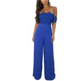6933aba8fc3c black wide leg lace jumpsuit 2019 - Sexy Off Shoulder Women Jumpsuits Lace  Patchwork Backless Summer