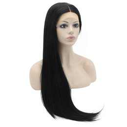 Wholesale Synthetic Lace Wig Hairline - Hot Sale Silky Straight Synthetic Lace Front Wigs Middle Part Glueless Black Natural Hairline Heat Resistant Hair Full Lace Wig Freeshipping
