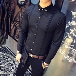 plus size casual black dress Coupons - 2018 New Arrival Mens Shirt Slim Fit Tuxedo Shirts Male Long Sleeve Red Black White Casual Shirt Men Plus Size Clothing