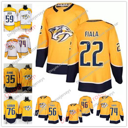 Wholesale Hockey Jerseys 22 - Nashville Predators #89 Frederick Gaudreau 22 Kevin Fiala 52 Matt Irwin 55 Cody McLeod 2018 Yellow Home White Stitched Hockey Jerseys S-60
