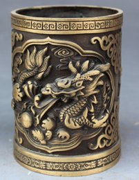 Lapiz de bronce online-China Bronce FengShui Fly Dragon Brush Pot Barrel Pluma contenedor Pencil Jarrón