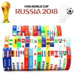 Wholesale Football Nation - Turbo 2018 Russia World Cup Silicone Bracelet Sports Match Nation Flag Football Fans Jelly Wristbands for Men Women Boys Girls