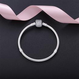 grabado de pulsera 925 Rebajas Mujeres hermosas CZ Pave Broche pulsera con LOGO grabado en plata de ley 925 para mujeres Pandora pulseras brazalete de regalo