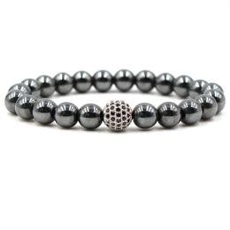 Wholesale magnetic mans bracelets - Hematite Magnetic Bracelets 8mm Natural Stone Cubic Zirconia Round Ball Bracelets & Bangles For Women & Men Bracelets Gift