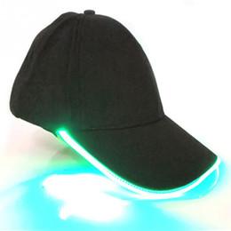 2018 unisexe chapeaux mode led éclairé lueur club fête noir tissu voyage chapeau baseball casquette hip hop réglable tissu chapeau lueur bouchon ? partir de fabricateur