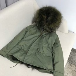 Wholesale military jacket liner - Herr Frau Women short down parkas hooded with Raccoon furs collar + Fox furs Liner Classic military green jacket