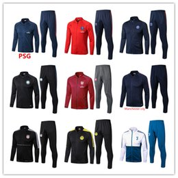 Wholesale Training Jogging Jackets - Soccer tracksuits jacket 2017 Best quality survetement football Marseille Real Madrid training suit sweat topsoccer jogging football pant