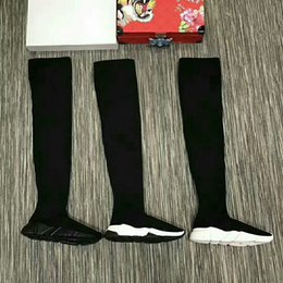 Wholesale Long Lace Slip - Brand B Speed Trainer Thigh High Stretch-Knit Long Boots Woman Fashion Designer Slip On Sock Boots Cheap Casual Shoe All Black