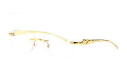2019 quadros de óculos de sol mulheres leopardo França marca ouro prata sem aro quadros leopardo búfalo óculos clear brown brown lentes Vintage óculos de sol para homens mulheres eyewear desconto quadros de óculos de sol mulheres leopardo