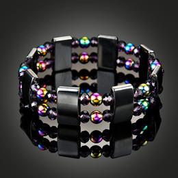 Wholesale Malachite Men - Magnetic Hematite Health Bracelet for women Men Black Magnetite Malachite Many Colors Crystal healing Bangle