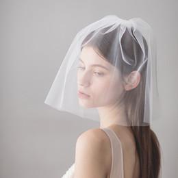 velos faciales baratos Rebajas 2018 nuevo diseño barato boda corta tul suave velo de novia con peine cara blanca velos para la boda CPA1434