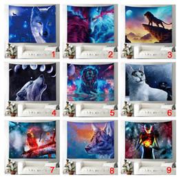 Décor de chambre de chat en Ligne-Fantasy Decor Tapisserie Loup Lune Étoile Chat Chien Oiseau Chien Univers Galaxie Lion Tenture murale pour Chambre Salon Dortoir 51X59Inches Mur B
