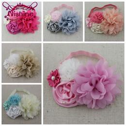 Wholesale Newborn Handmade - Nishine New Handmade Elastic Headband Chiffon Lace Flower Baby Girls Headbands Newborn Photo Prop