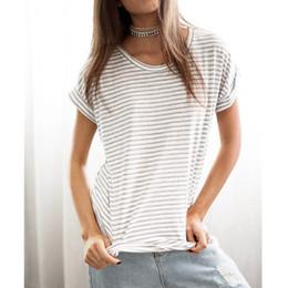 d571609850e63 RENBANG 2018 Yaz Tee Kadınlar Şerit Üst Moda Bayanlar O-Boyun Kısa Kollu  Pamuk Casual T Shirt Beyaz Ucuz T-Shirt