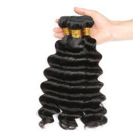 Parte de tejido brasileño online-8A brasileño suelta el cabello humano profundo 3 paquetes con el medio libre del cierre 3 partes doble trama Extensiones de cabello humano Dyeable Armadura de cabello humano